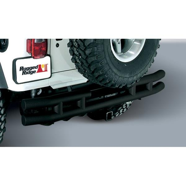 Double Tube Rear Bumper with Hitch, 3 Inch; 55-86 Jeep CJ Models