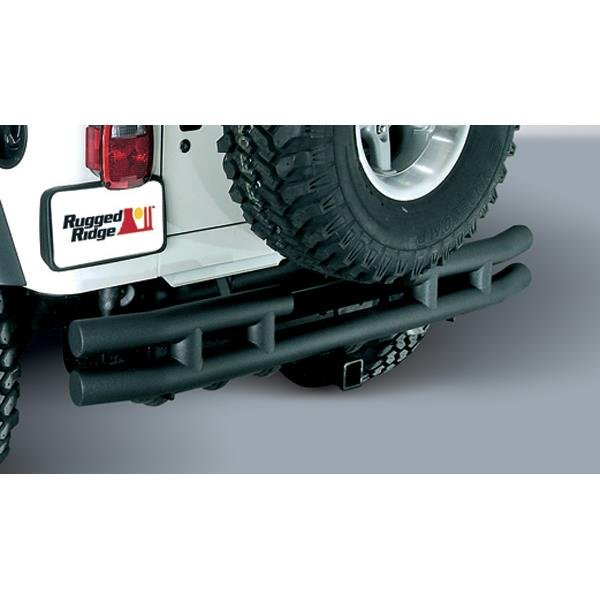 Double Tube Rear Bumper with Hitch, 3 Inch; 87-06 Jeep Wrangler YJ/TJ